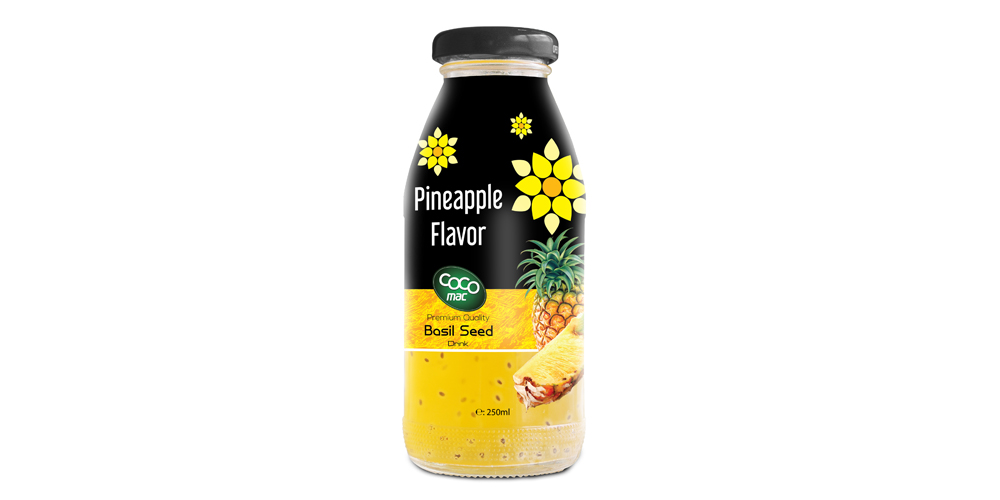 basil seed with pineapple  flavor 250ml glass bottle from RITA EU