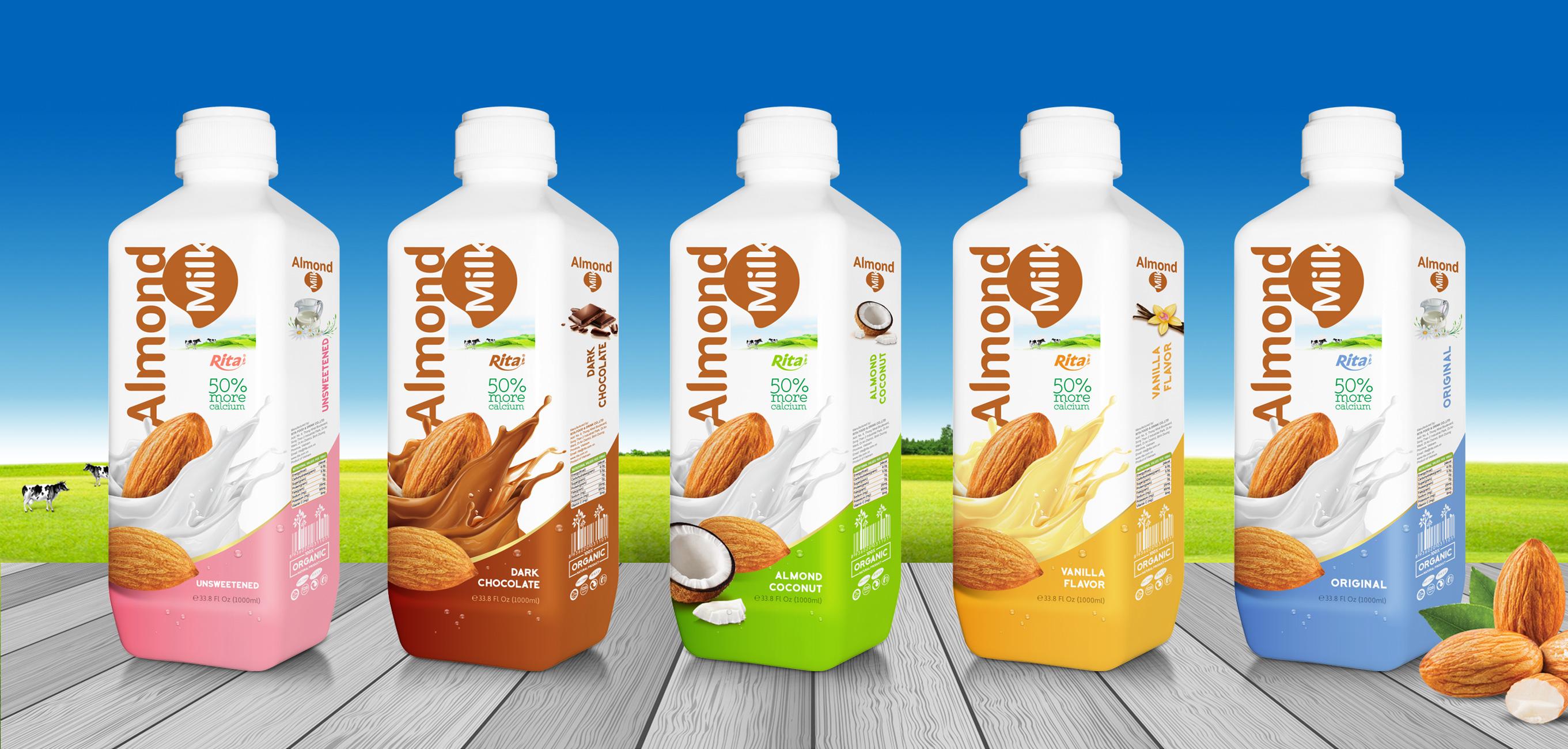 Almond milk drink no sugar 1000ml PP bottle