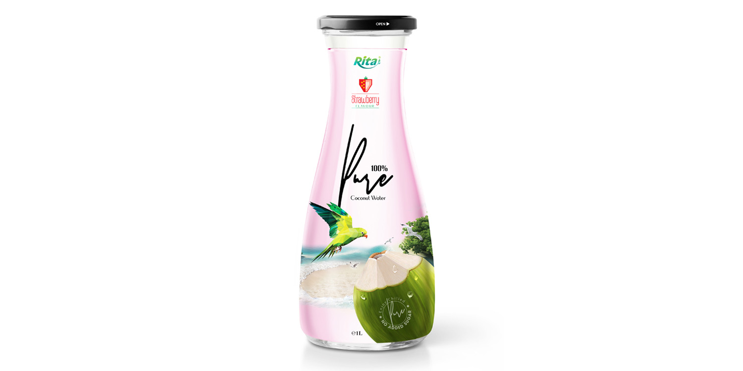 Coconut water with strawberry 1L_Glass bottle from Juice