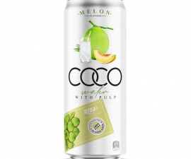 Coconut water with Melon flavor 330ml canned Rita brand