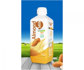 Almond milk drink with  vanilla flavor 1000ml PP bottle
