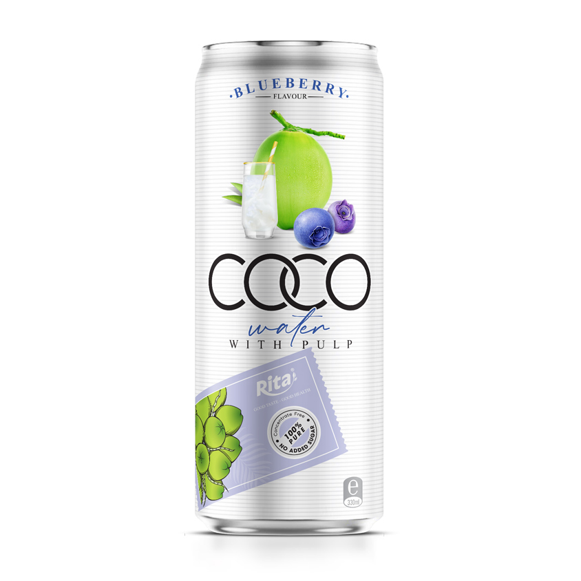 Coconut water with blueberry flavor 330ml canned Rita brand