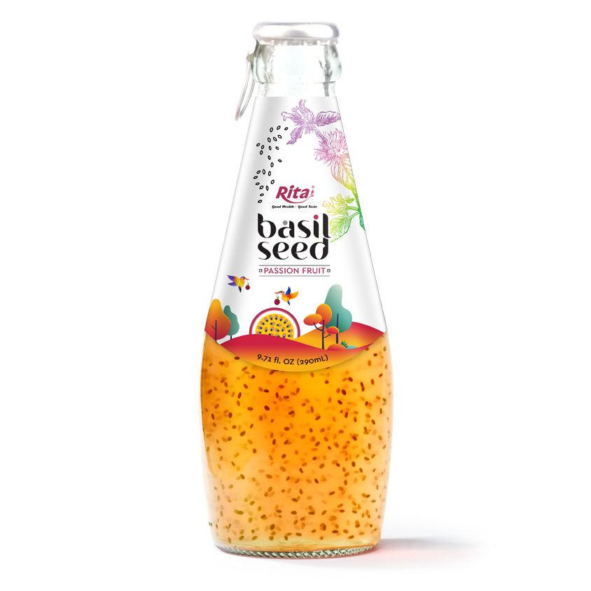 290 ML GLASS BOTTLE BASIL SEED WITH PASSION FRUIT JUICE