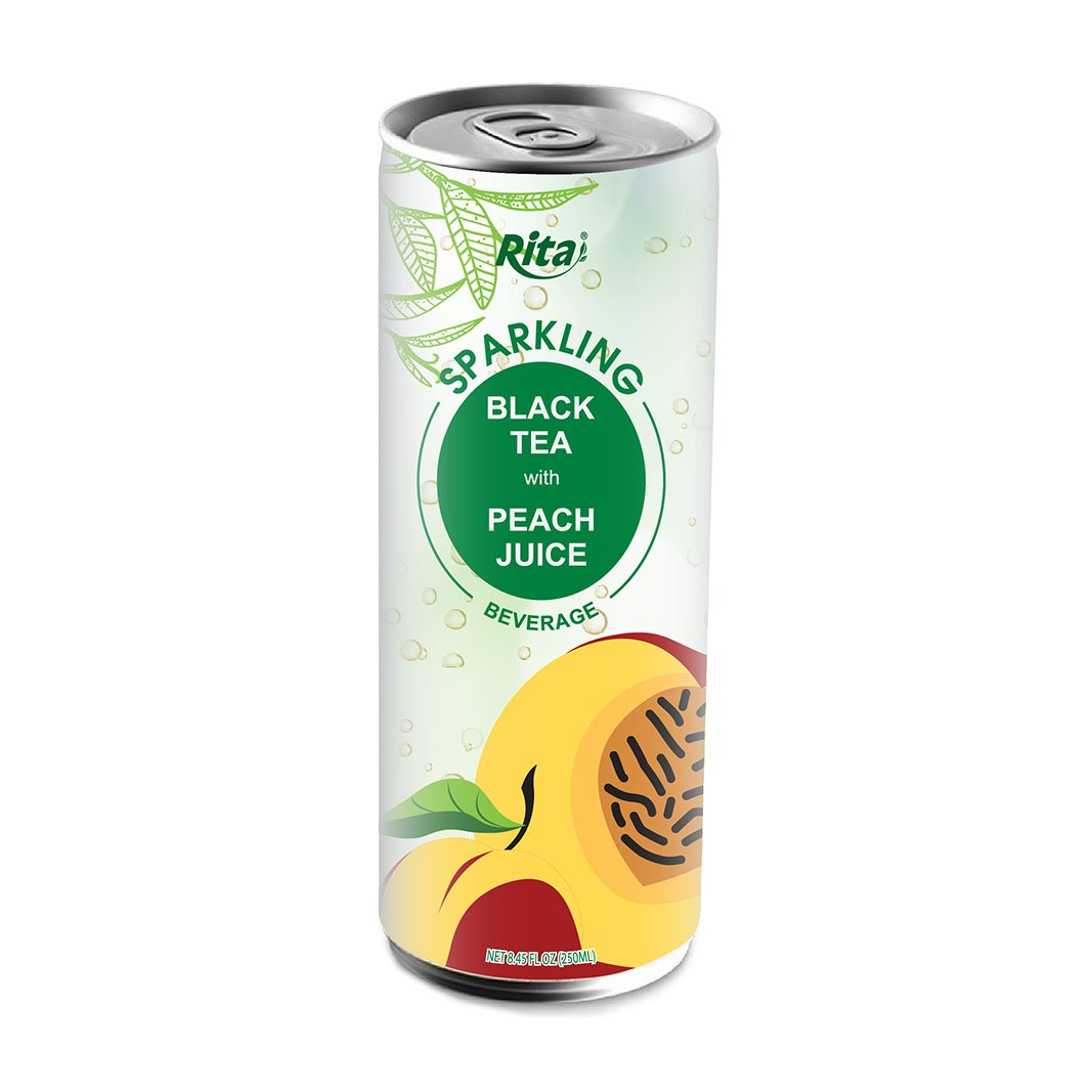 SPARKLING BLACK TEA WITH PEACH JUICE 250 ML CANNED