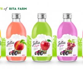 glass 320ml fruit juice peach private label brand